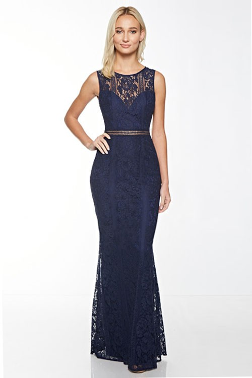 Maniju Lace Evening Gown Navy Blue — UNLABELED