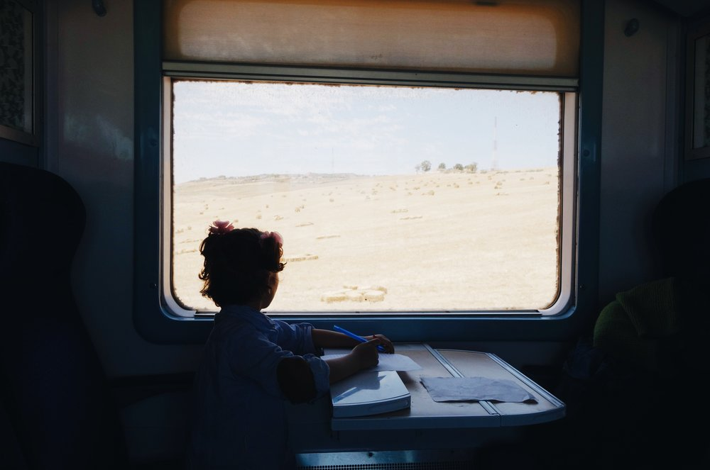 A girl on a train