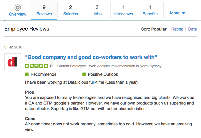 Reviews on Glassdoor