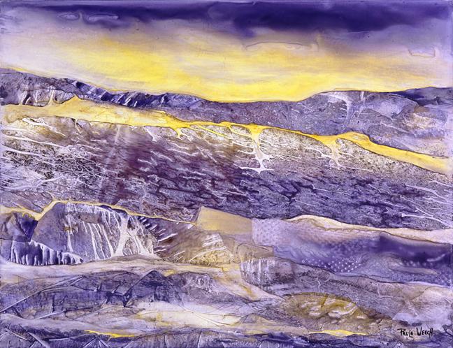 PAULA WEECH  - Tuscon, AZ   Amber Glow   watercolor on Yupo