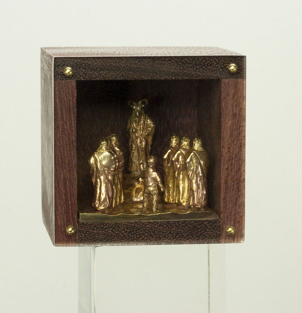 DAN SPAHN  - Moline, IL   Jimmy Gives Baphomet Some Pointers   cast bronze, wood, Plexiglas