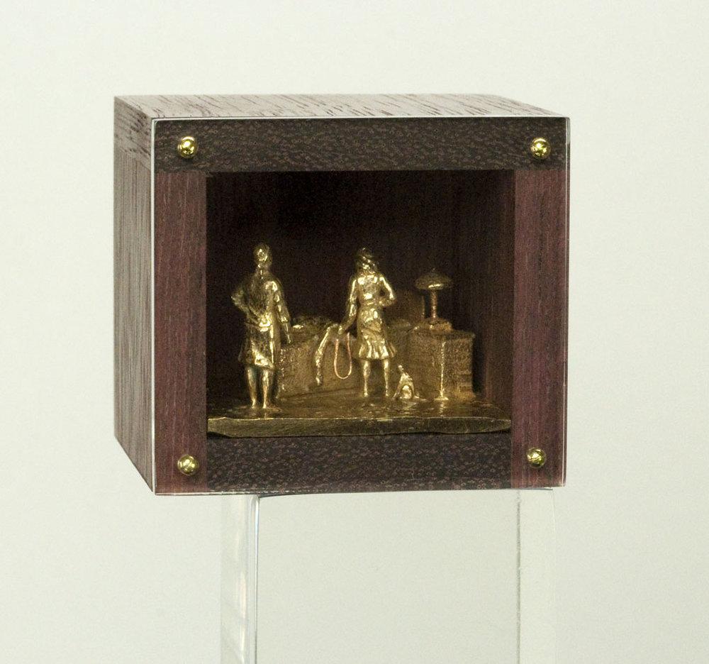 DAN SPAHN  - Moline, IL   Home Enema   cast bronze, wood, Plexiglas