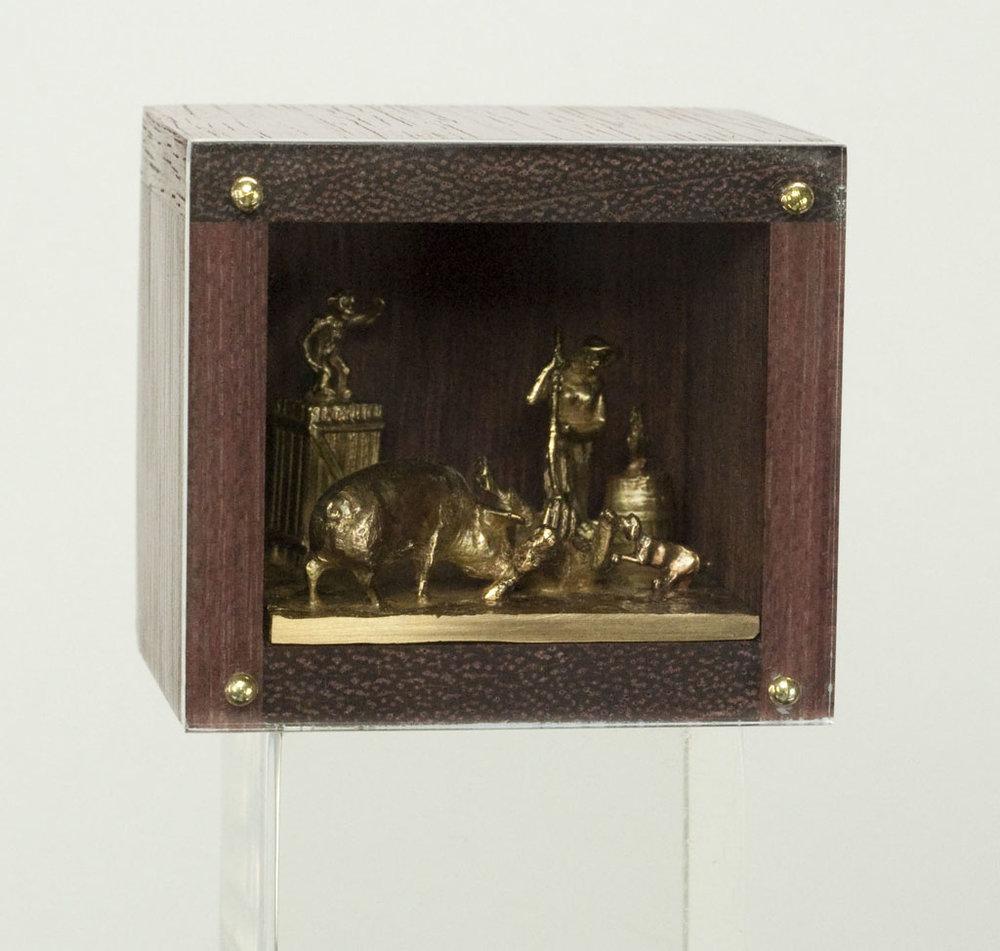 DAN SPAHN  - Moline, IL   Jihadi Truffle Hunt   cast bronze, wood, Plexiglas