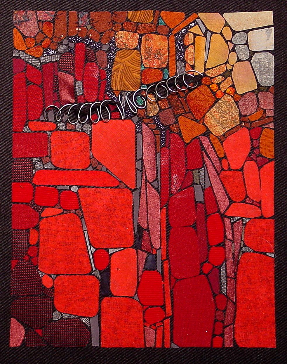 LORI MILLER  - Eldridge, IA   Geo #4 - Red Rocks   fiber and found objects