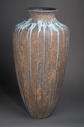 JOE MEIRHAEGHE & STEVE SINNER  - Orion, IL & Bettendorf, IA   Overflow   oak, glass beads, acrylic and metal reactive paints