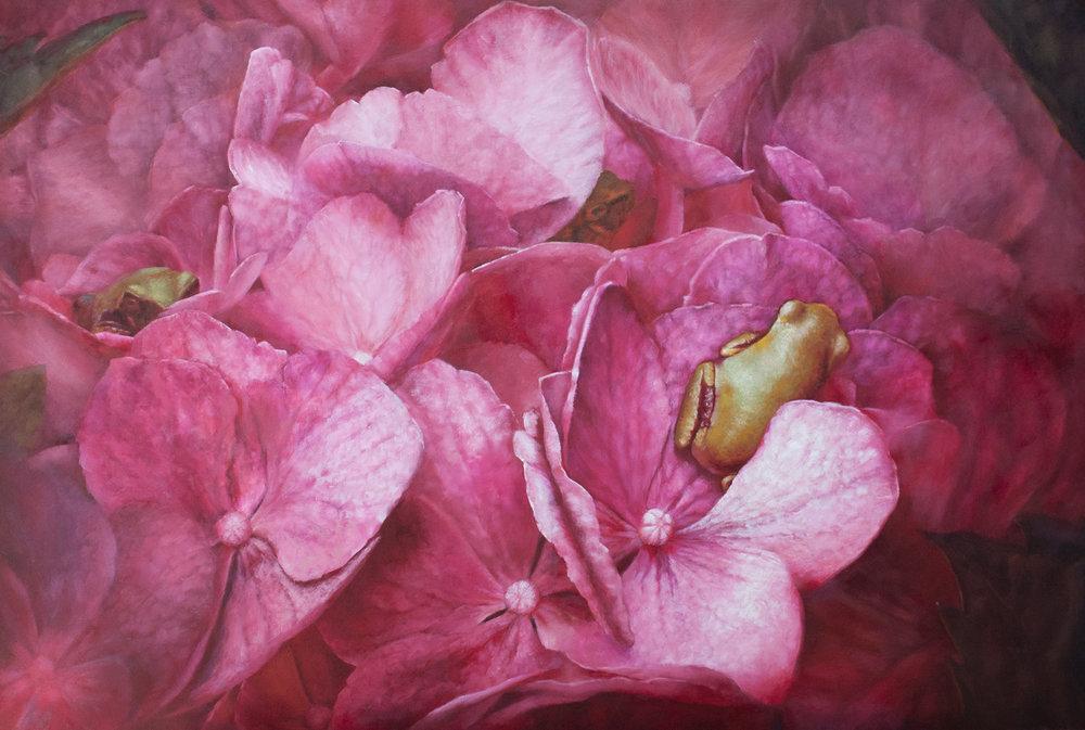 MARY HILDEBRAND  - Metamora, IL   Shelter Among Hydrangea Blossoms   oil