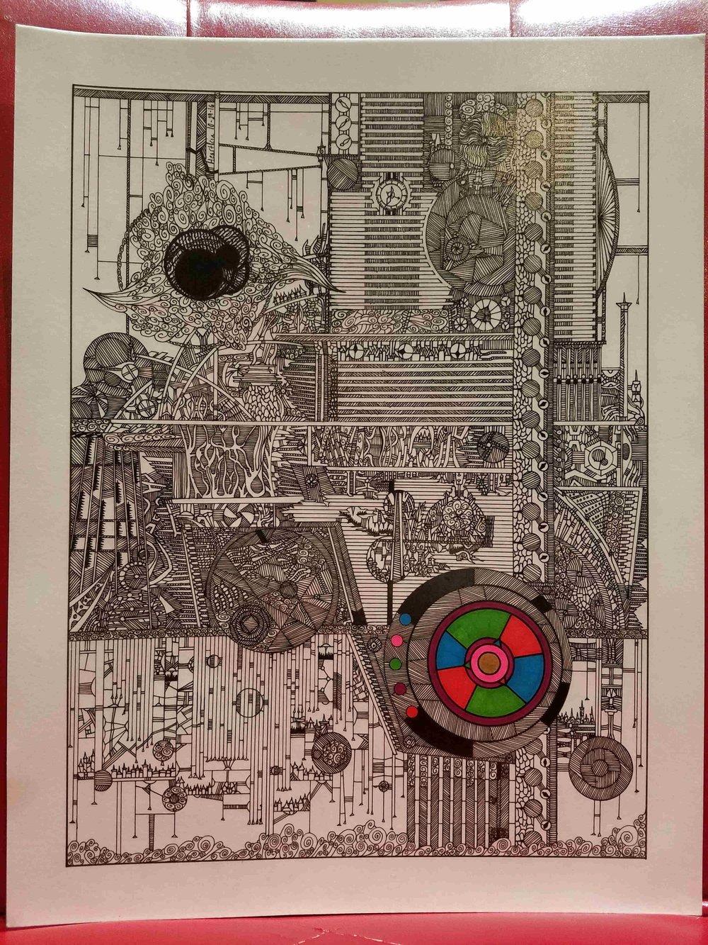 TOM HEARTLEIN  - Galesburg, IL   Clockwork Complex   pen and marker on Bristol