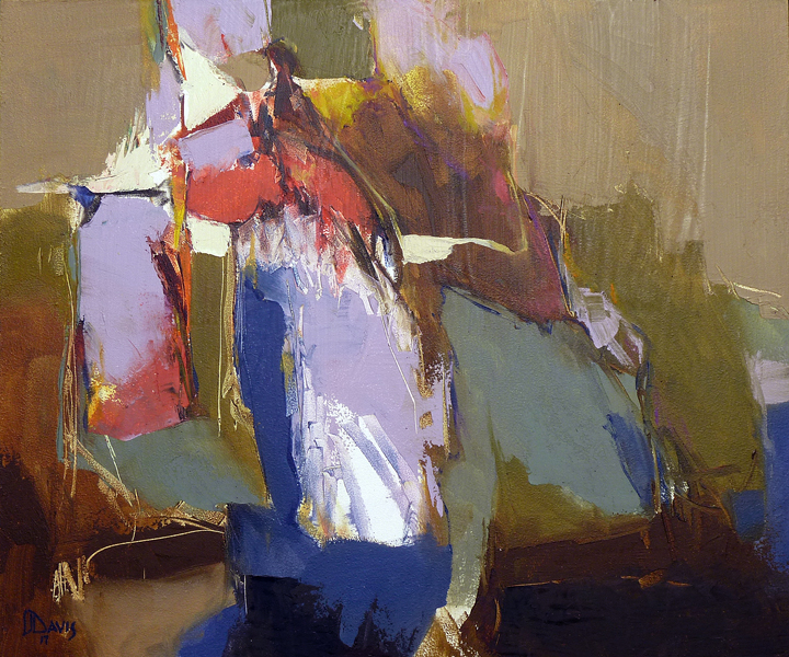 LARRY JON DAVIS  - Knoxville, IL   Figure in Repose   oil and cold wax on panel
