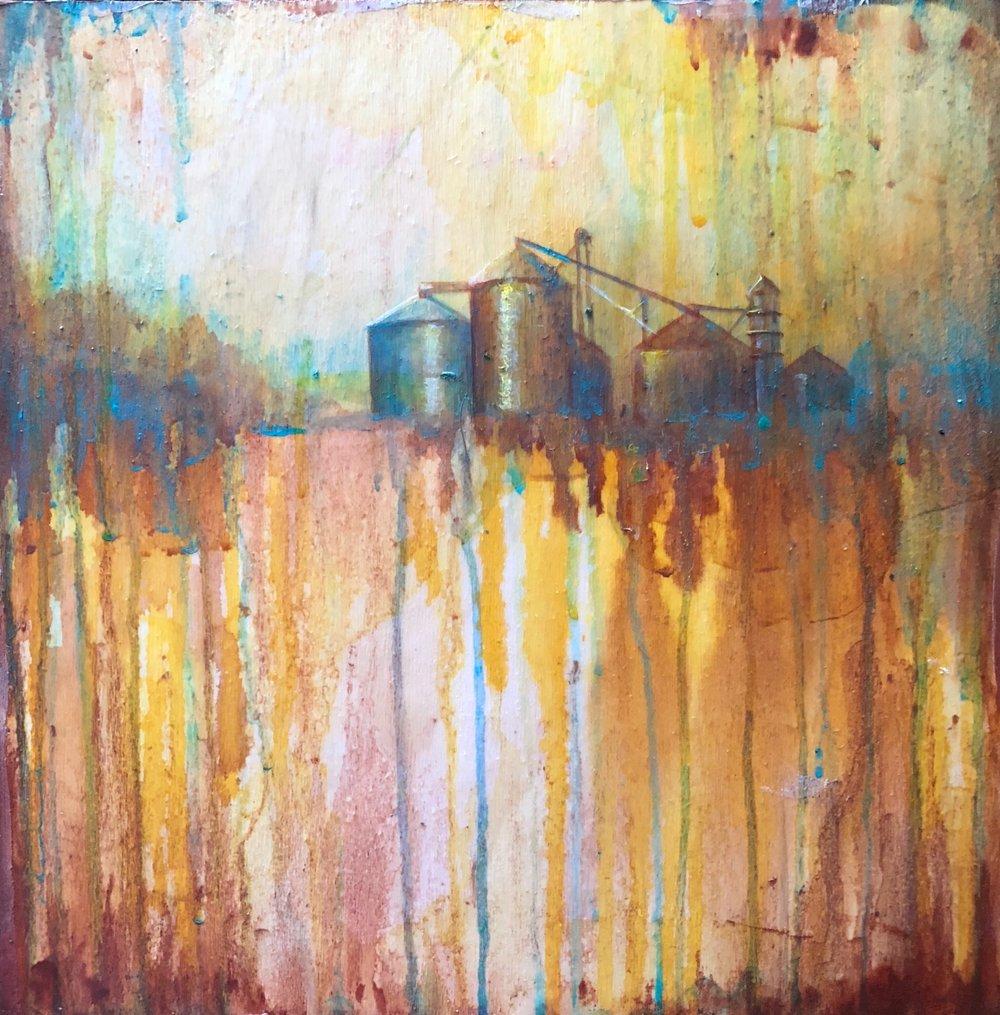 JULIE SWANSON DAVIS  - Galesburg, IL   Exit 71   fluid acrylic on birch panel