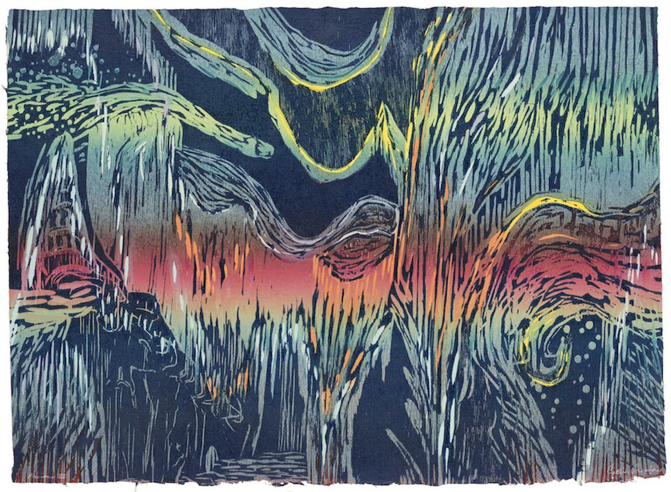 CATHIE CRAWFORD  - Peoria, IL   Pluvious VI   color reduction woodcut monoprint