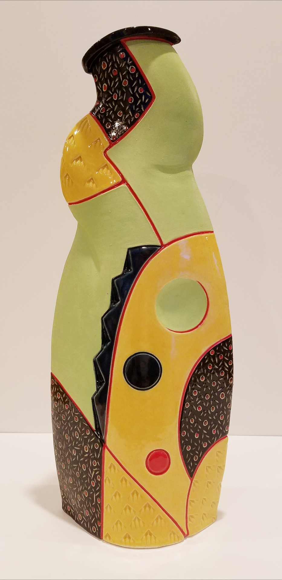CHRIS DOKOLASA  - Galesburg, IL   Feminine Form with Red Lines   ceramic stoneware, SOLD