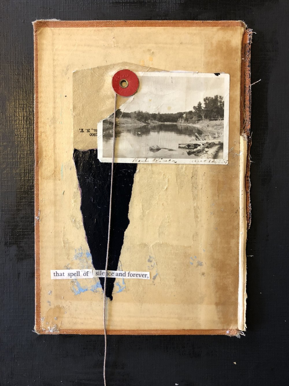 LAUREN DOUGLAS  - South Milwaukee, WI   The Spell of Silence And Forever   acrylics, photograph, paper, book cover, SOLD