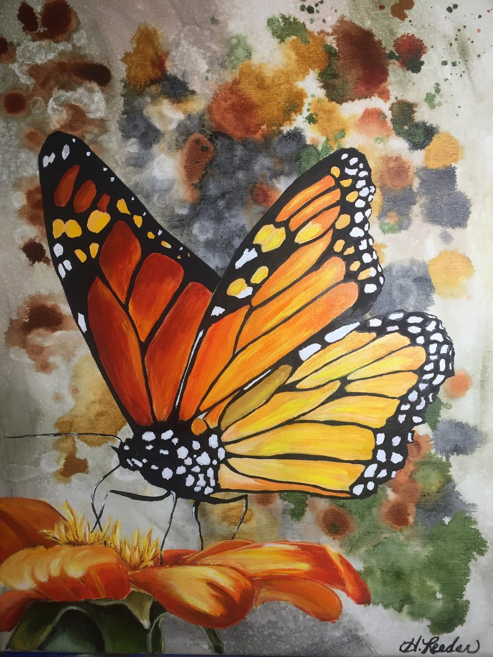 HOLLY REEDER  - Frisco, TX   Migration of the Monarch   acrylic, $250