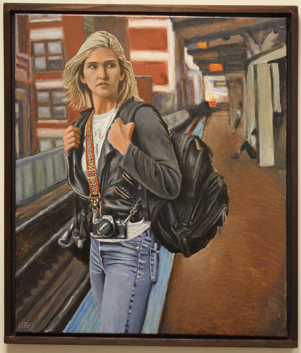 MICHAEL VOSS  - Waukegan, IL   Girl V World   oil on canvas, $2,000