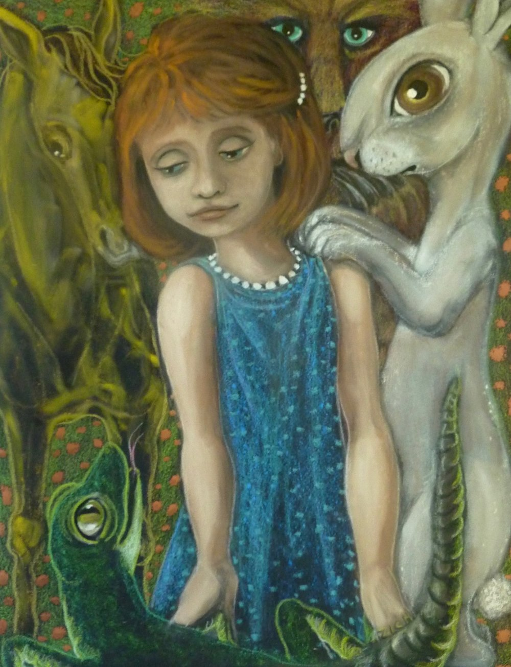 JANE ZICH  - Fairfax, CA   A Child's Companions   colored pencil, acrylic, oil, and pastel on paper, $1,200