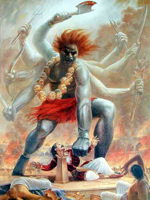 Virabhadra about to behead Daksha. This is the same picture that the sadhu had near his fireplace.
