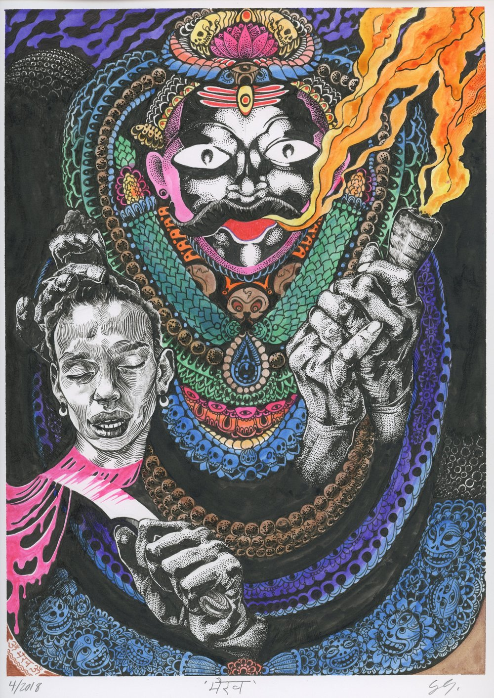 BLACK BHAIRAV WHITH CHILLUM AND SEVERED HEAD OF THE ARTIST