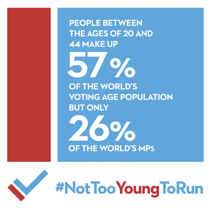 #NotTooYoungToRun is a global campaign fighting age discrimination in the world's parliaments.