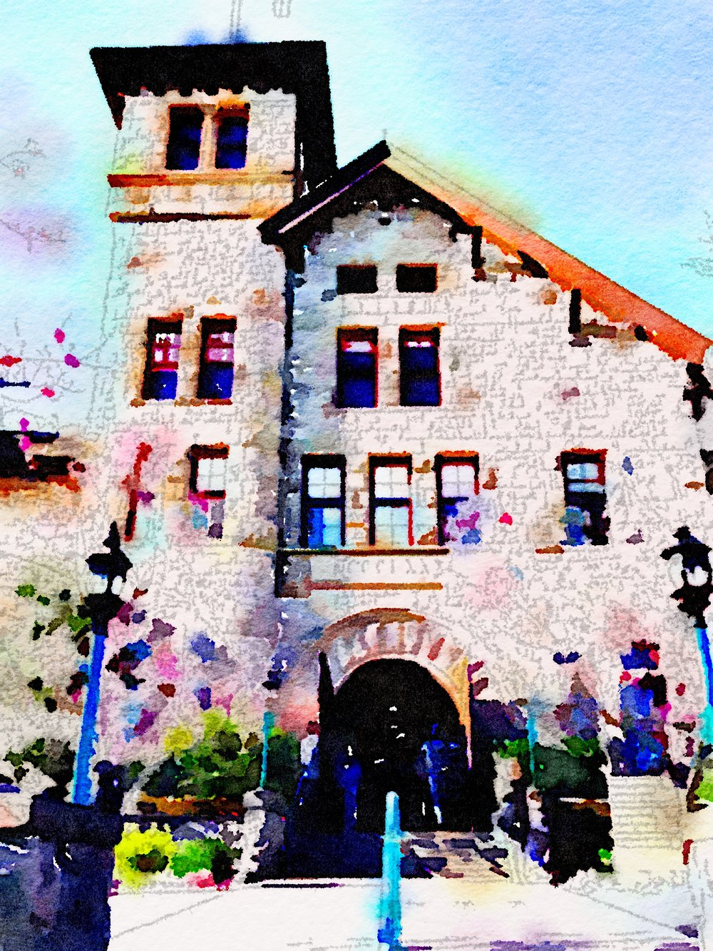 The CIA in spring colors, courtesy my Waterlogue app