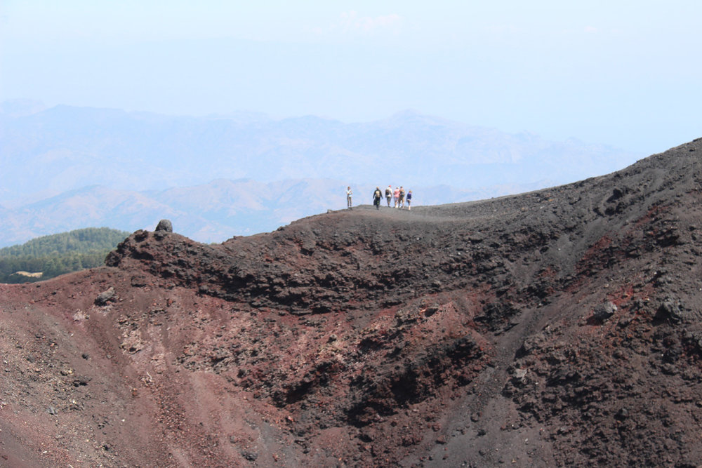 An spent crater on the north side of Mt. Etna