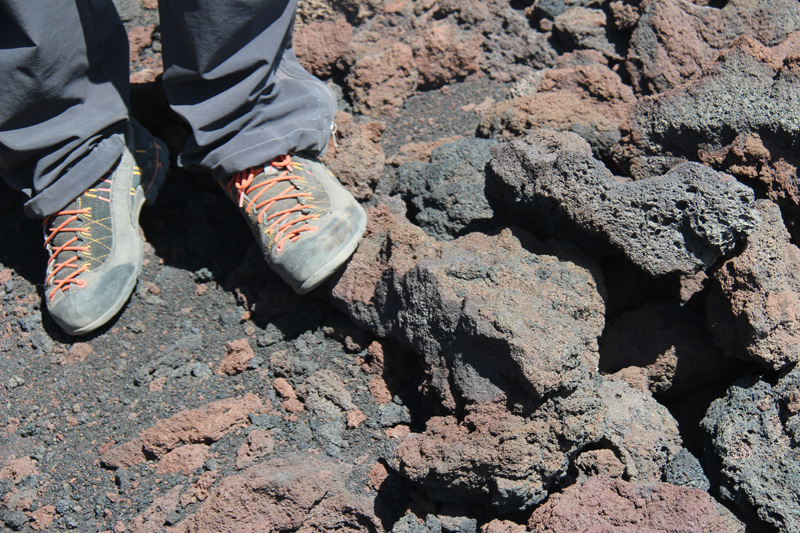 The red color of oxidized lava