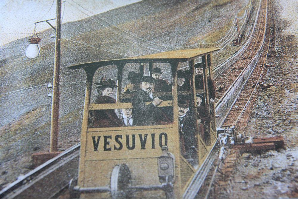Publicity for the 1880 tram up Mt. Vesuvius