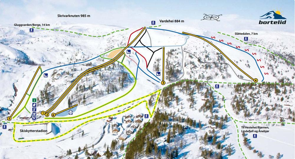 Kart over alle heisene og nedfartene våre. Se mer info på    www.fnugg.no/bortelid