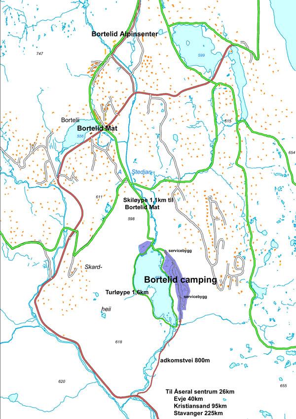 Trykk for å se Hvor på Bortelid campingen ligger. Kartet viser veier (Rød) og preparerte skiløyper. (grønn)