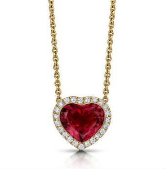 18ct Rose Gold Pink Tourmaline & Diamond Pendant