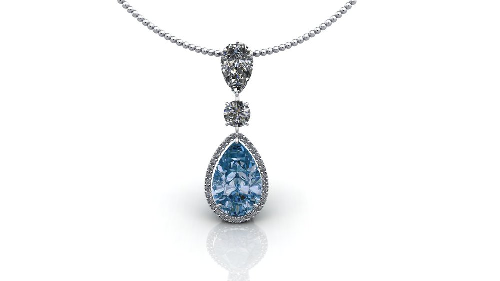 Aqua and Diamond Pendant