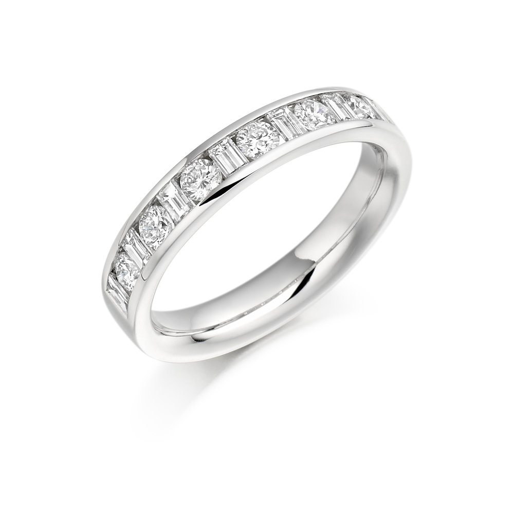 0.50ct diamond round & baguette half eternity