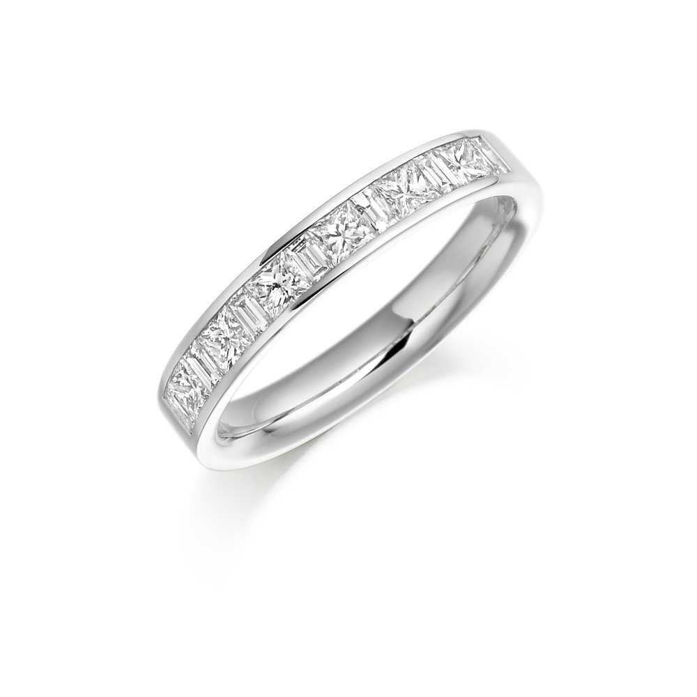 0.50ct princess & baguette cut diamond half eternity in 18ct gold.