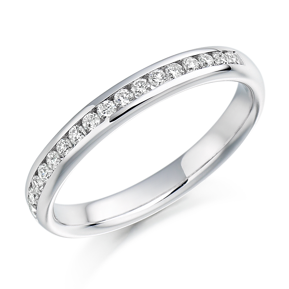 0.22ct round brilliant cut diamond half eternity in 18ct gold.