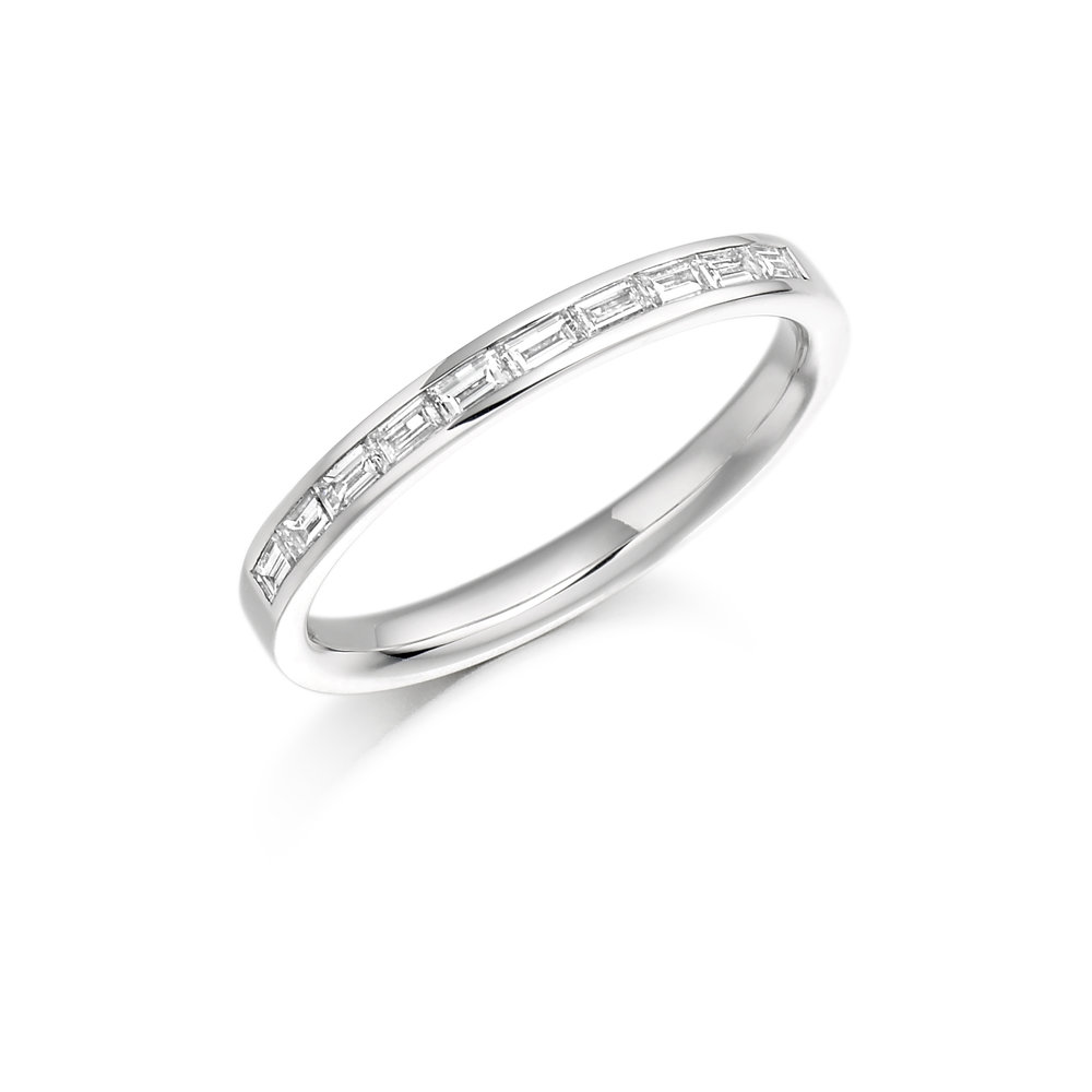 0.30ct baguette cut diamond half eternity in 18ct gold.