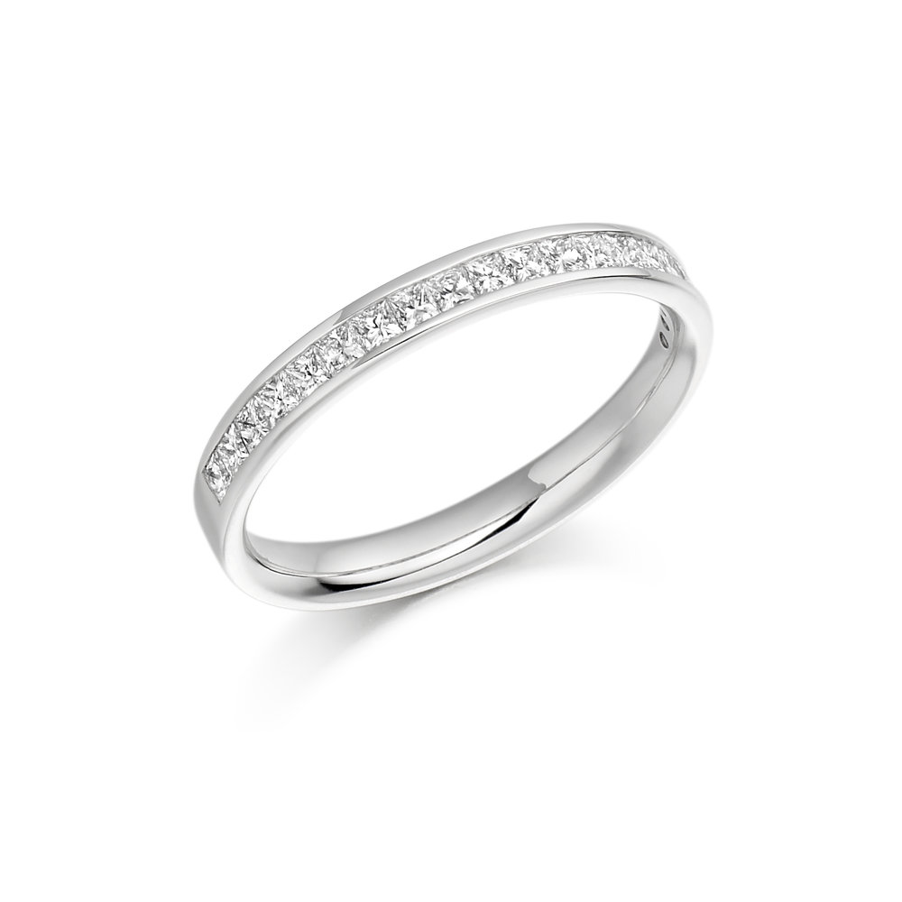 0.33ct princess cut diamond half eternity in 18ct gold.