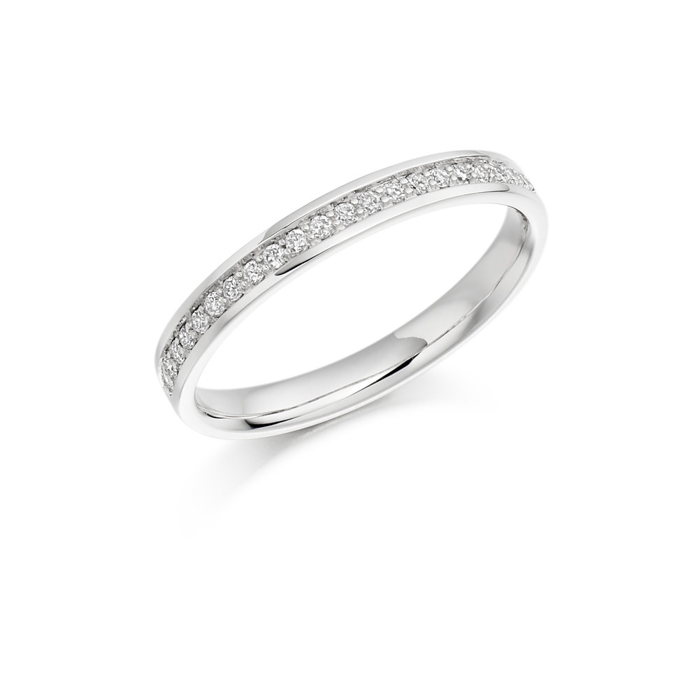 0.17ct brilliant cut diamond half eternity in 18ct gold.