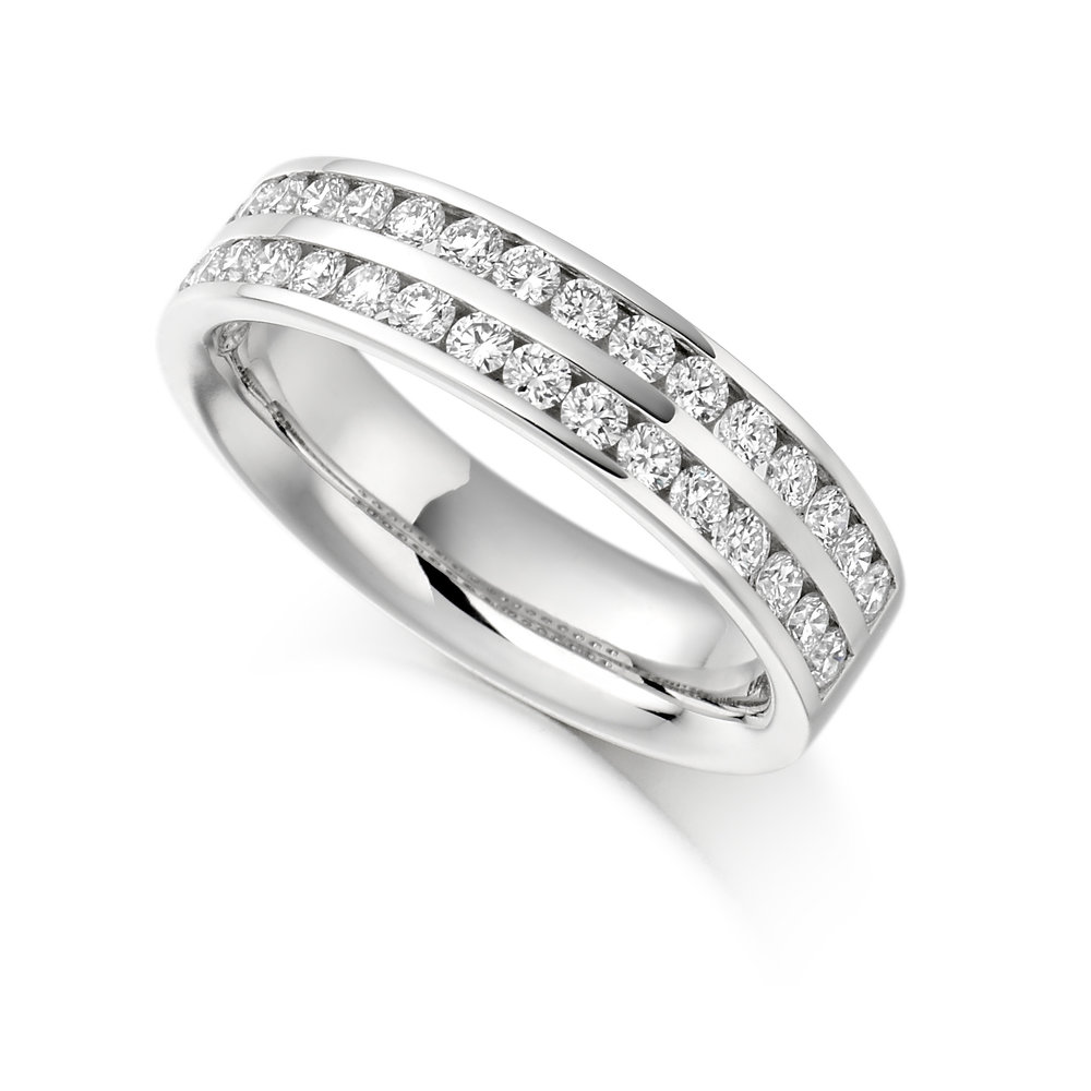 0.75ct brilliant cut diamond half eternity in 18ct gold.
