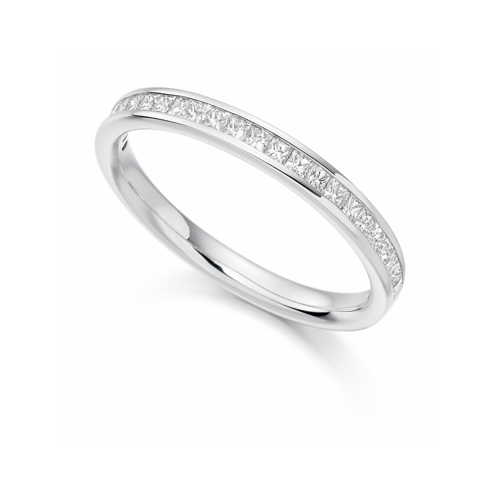 0.75ct princess cut diamond half eternity ring in 18ct gold.