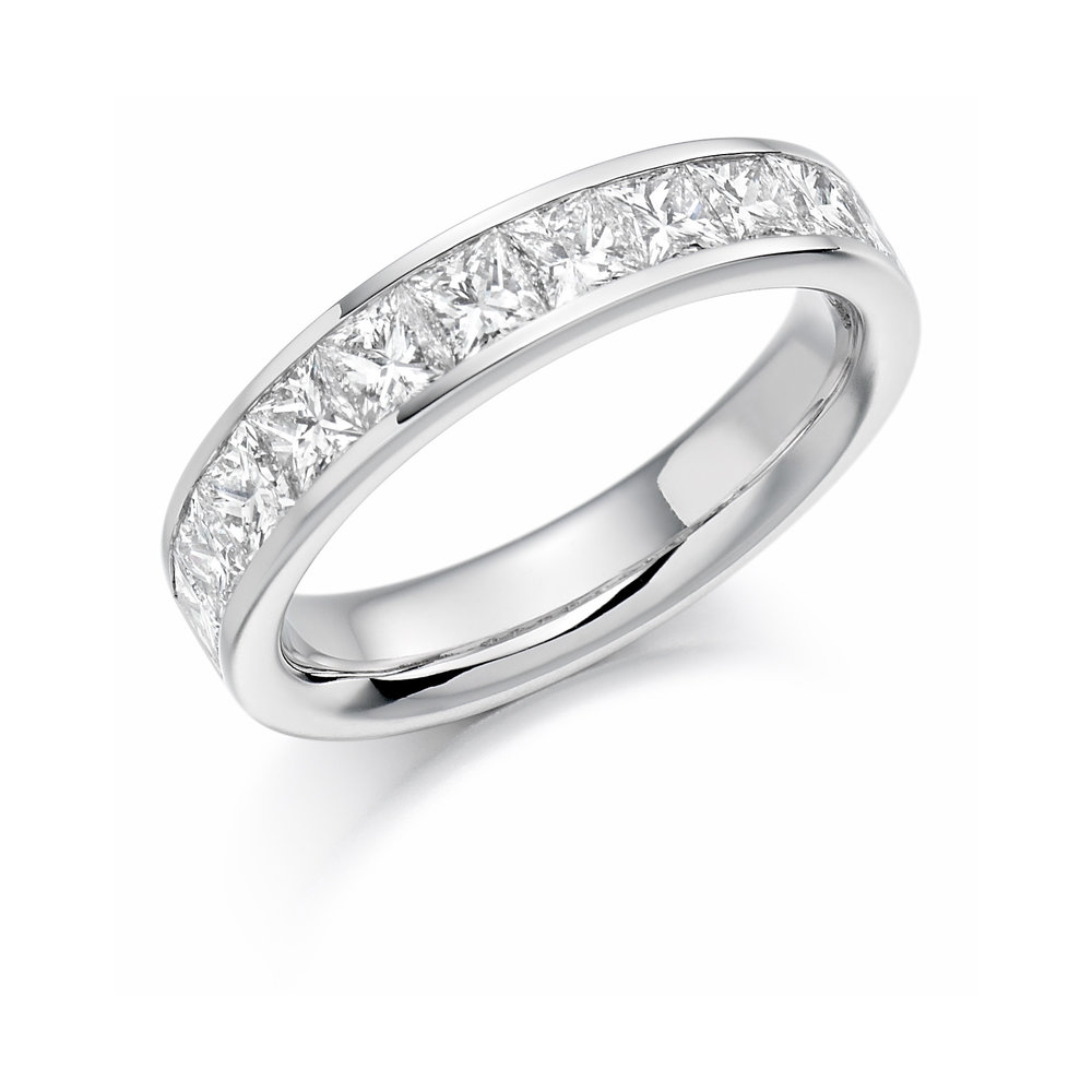 1.00ct princess cut diamond half eternity in 18ct gold