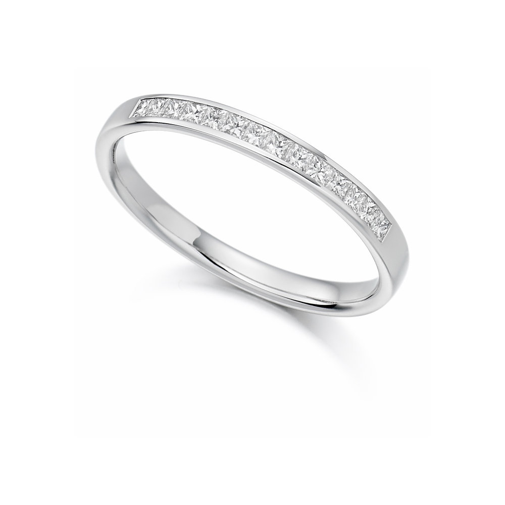 0.20ct princess cut diamond half eternity in 18ct gold.