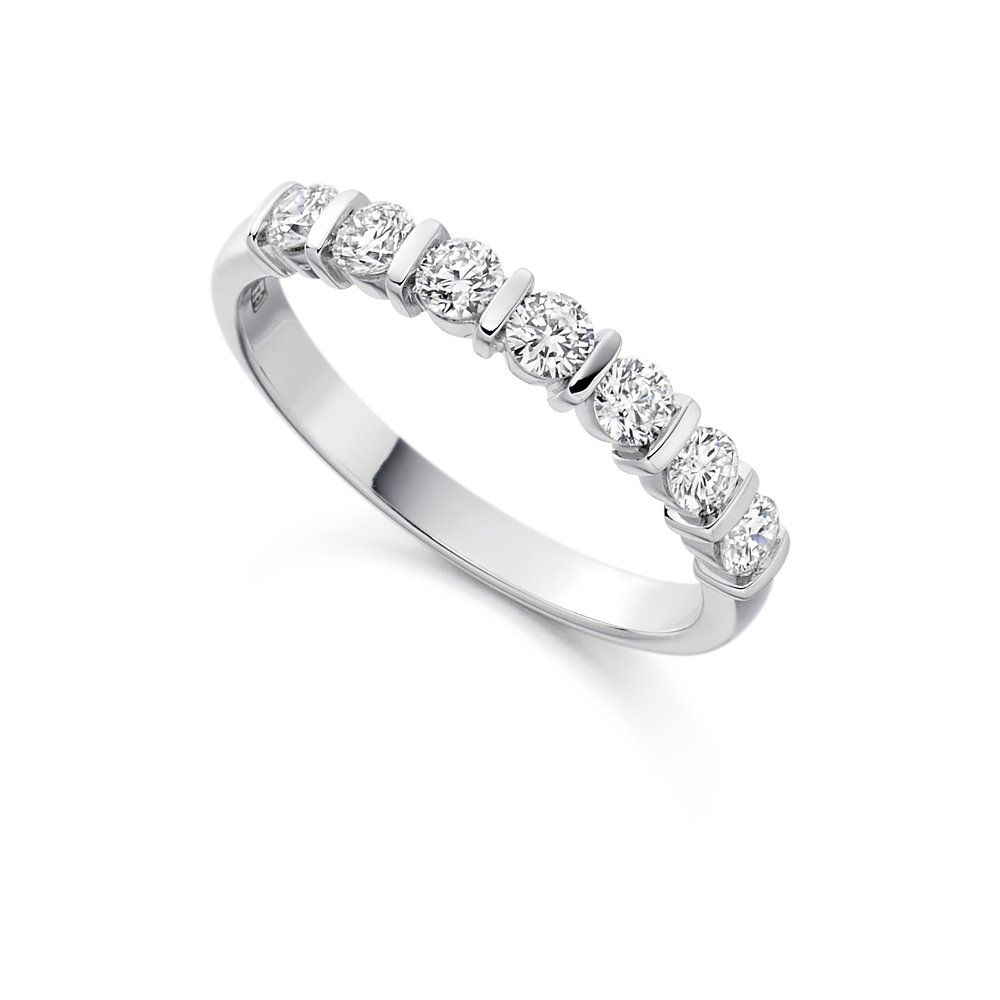 0.50ct brilliant cut diamond half eternity in 18ct gold.