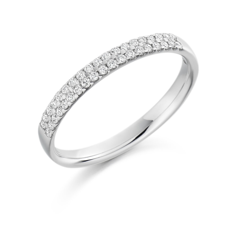 0.25ct brilliant cut diamond double row band ring