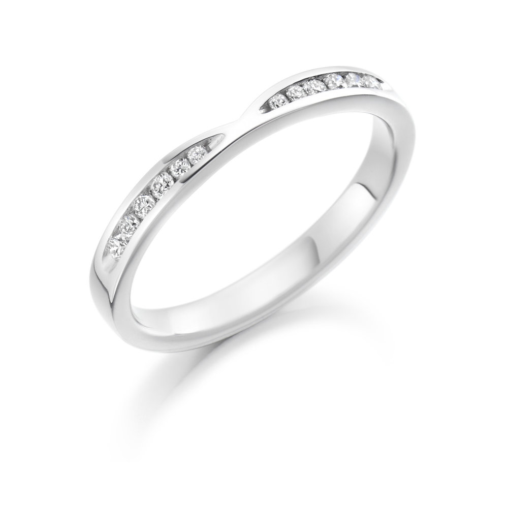 0.18ct brilliant cut diamond curved & shaped wedding ring.
