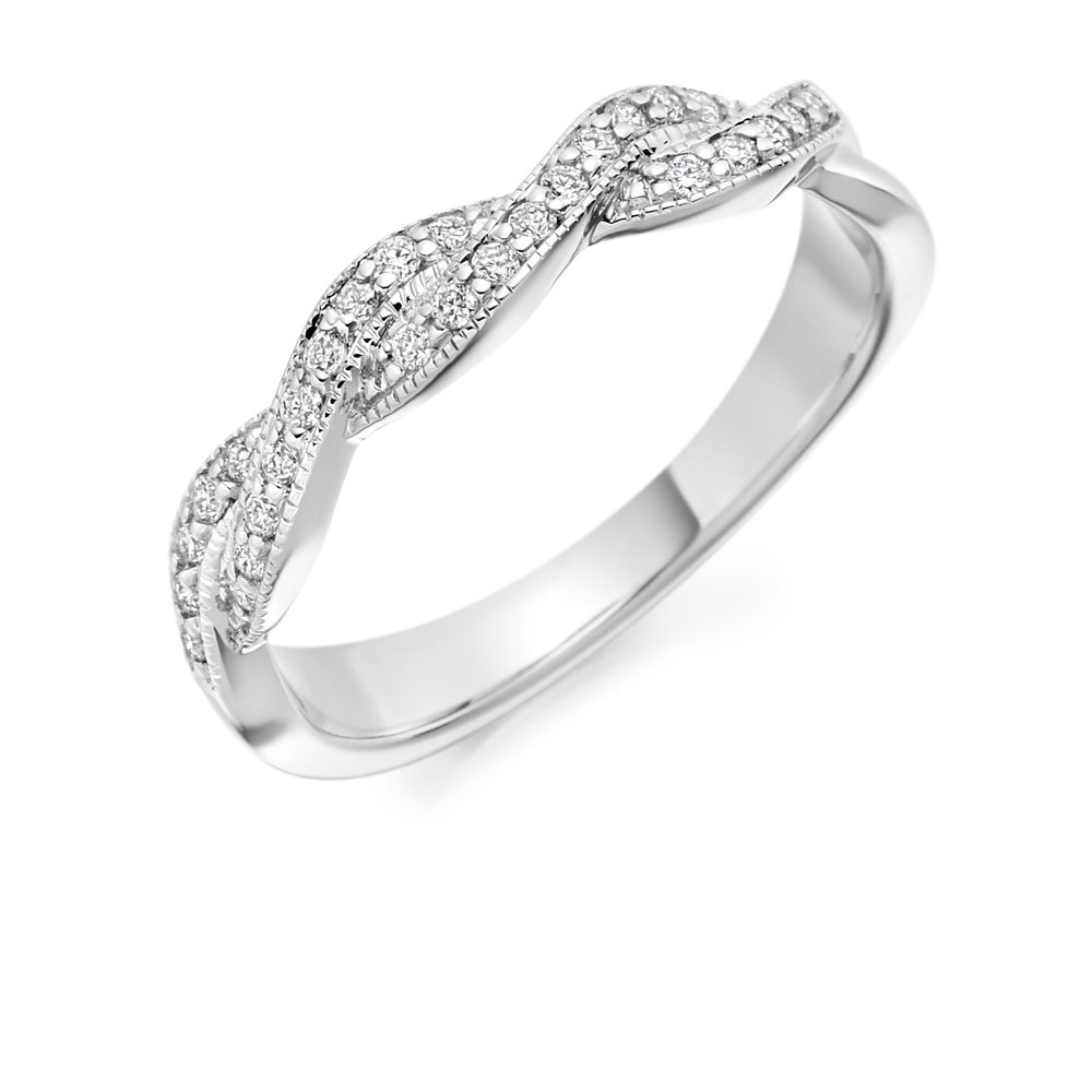 0.22ct brilliant cut diamond curved & shaped wedding ring.