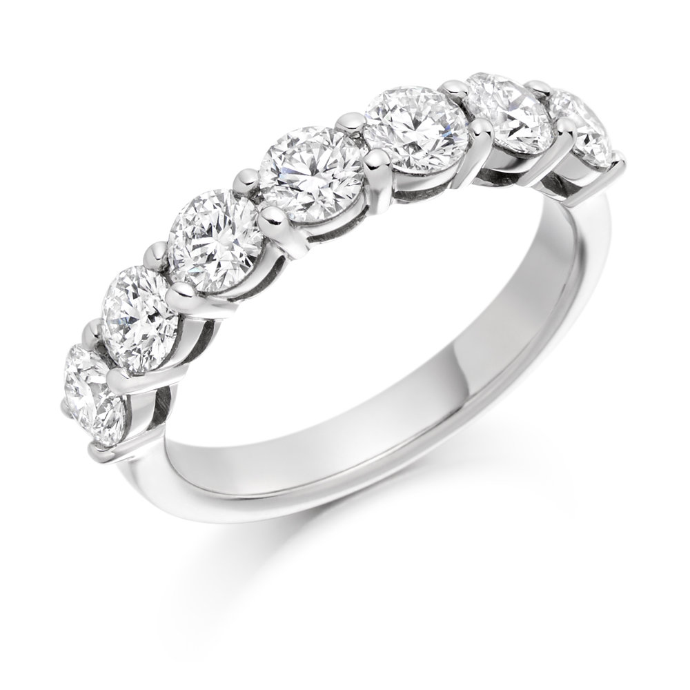 1.50ct brilliant cut diamond half eternity 18ct gold.