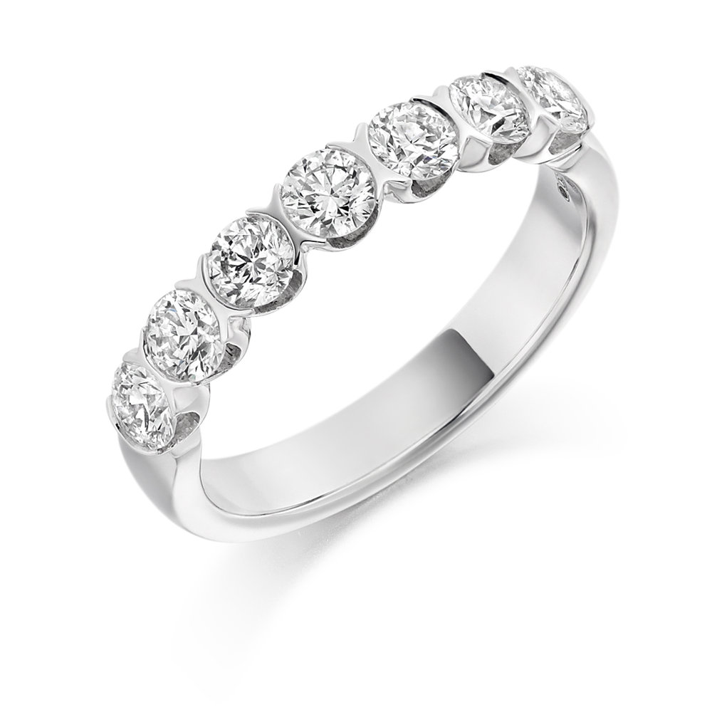 1.00ct brilliant cut diamond half eternity in 18ct gold.