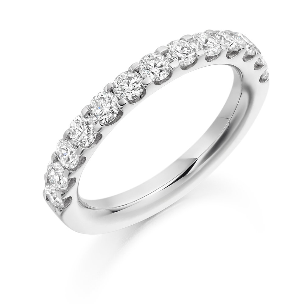 1.00ct brilliant cut diamond half eternity in 18ct gold