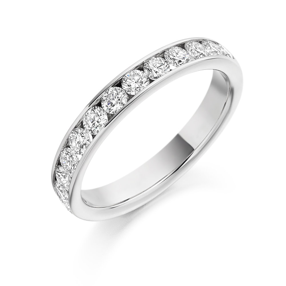 0.75ct brilliant cut diamond half eternity in 18ct gold