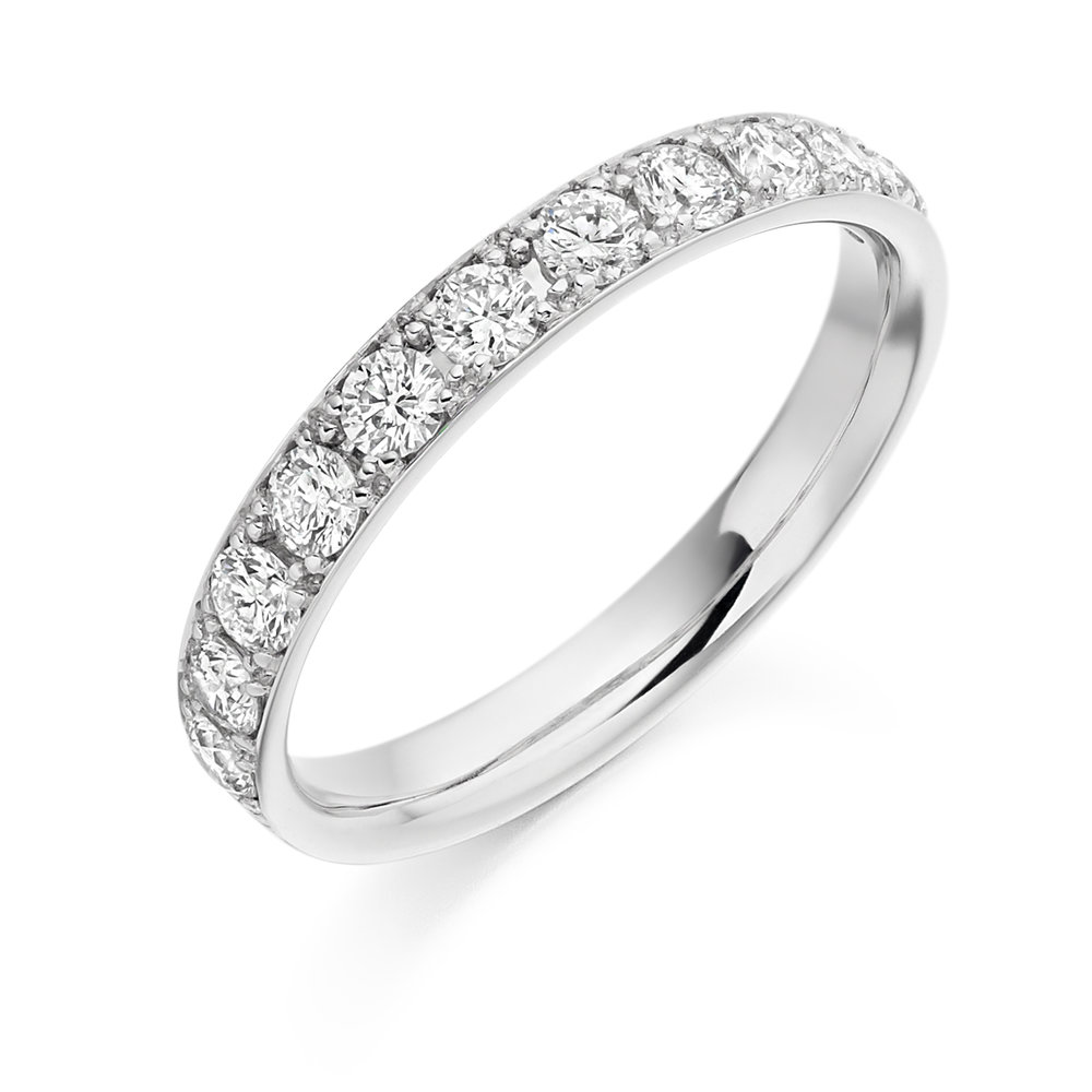 0.65ct brilliant cut diamond half eternity in 18ct gold