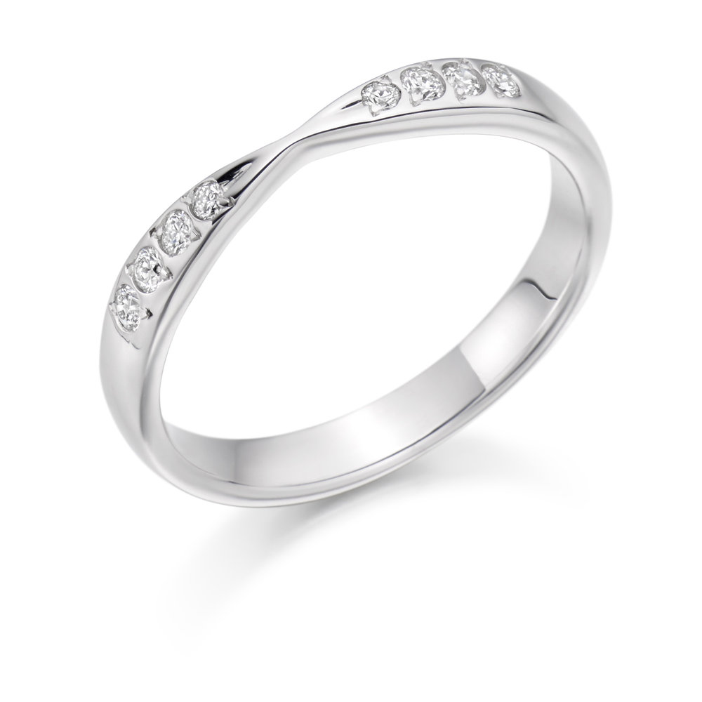 0.15ct brilliant cut diamond curved & shaped wedding ring